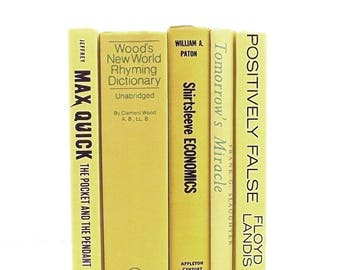 Yellow books, yellow book collection, decorative books, daffodil yellow books, instant library, canary yellow, book set, book decor