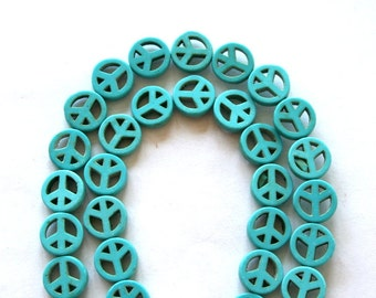 Full Strand of Turquoise Blue Turquoise Magnesite Peace Sign Beads
