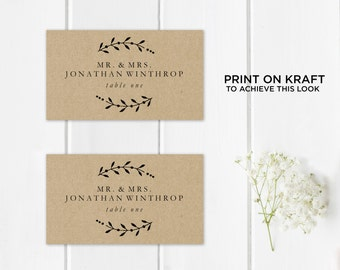 Printable Place Card Template, Wedding Place Cards, Seating Cards,  Printable Template |  Calligraphy Leaves, Rustic Kraft | No. EDN 5101