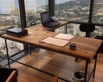 custom wood office furniture. Farmhouse Office Desk In L Shape Made With Reclaimed Wood And Pipe Legs Or Square Steel Custom Furniture N