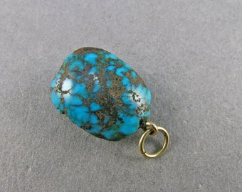 Antique Turquoise Bead Pendant With 9ct Gold Fittings Real Turquoise Jewelry Antiques Collectibles
