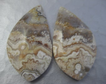 Mexican Crazy Lace Agate Matched Pair Cabochons