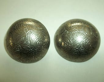 HUGE  80's Silver tone Floral Print Dome Clip ons