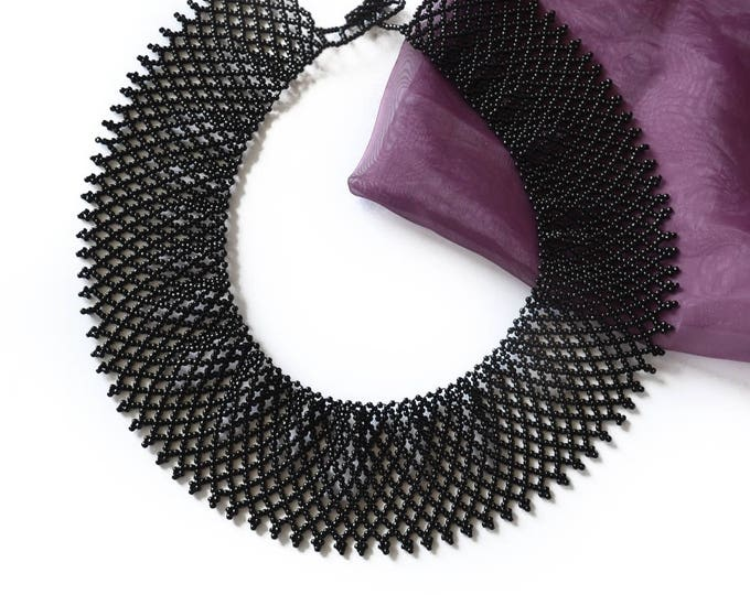 Ruth Bader Ginsburg, netted collar, lace collar, beaded collar, collar necklace, choker netted necklace, victorian necklace, beaded necklace