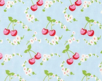 Cherries - Blue - Rambling Rose by Tanya Whelan from Free Spirit - Cherries Fabrics - Tanya Whelan Fabrics - Rambling Rose Fabrics