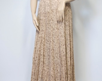 1990's Skirt Gauze Vintage Floral Rose Boho Gathered Skirt Hippie Brown Semi Sheer Skirt Size Large