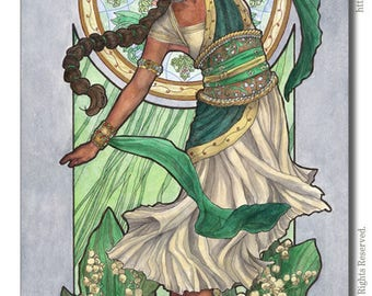 Art Print Lady of May Flower Queen Dancer Lily of the Valley and Mucha Inspired Emerald Birthstone Series Art Nouveau Painting