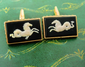 Large Devil Tail Horse Cufflinks Incolay SIGNED Mythical gold black seahorse Hippocampusis Poseidon Oriental FIsh  vintage gift for men