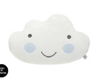 Knit Cloud Pillow :) WHITE with BLUE cheeks