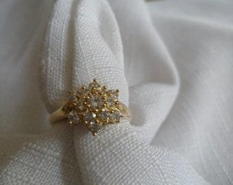 Vintage 10K Yellow Gold CZ Ring Size 8