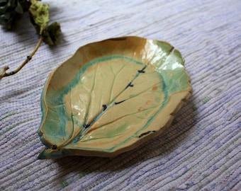 handmade ceramic decorative leaf dish, pottery leaf, ceramic leaf dish, rustic, multi colored handcrafted gift, housewarming gift