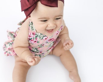 Baby Headband Head wrap, Burgundy Big Bow Headband, Black Baby Headband, Bow Headband, Big Bow, Toddler Bow Headband, Nylon Headband, 1105