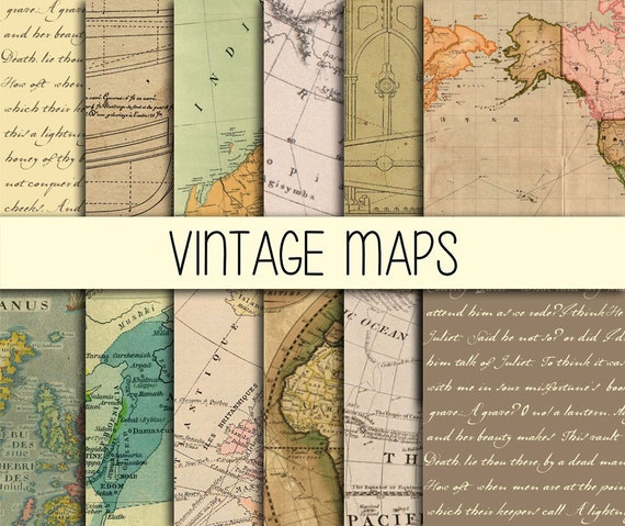 Vintage papers maps handwritten like images old blueprints vintage papers maps handwritten like images old blueprints 12 papers instant download 12x12 inch digital paper scrapbooking craft malvernweather Choice Image