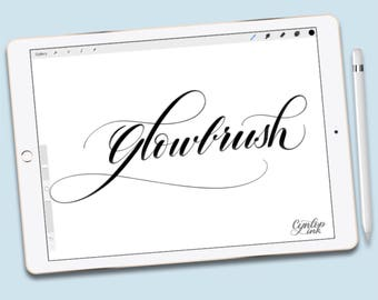 Procreate Brush, Glowbrush, , brush lettering, Calligraphy, Print, modern calligraphy, Procreate Brushes, Single Brush