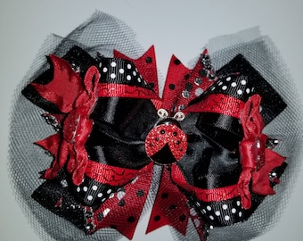 "5"" High Top Lady Bug Hairbow, red Hairbow, black Hairbow, girls Hairbow"