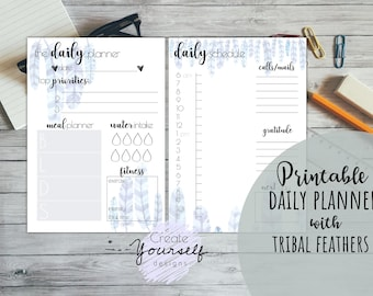 Daily planner printable - planner insert, planner refill, daily to do list, hourly schedule, printable daily planner pages, pre made planner