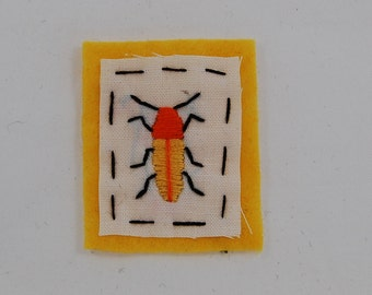 Yellow Beetle Embroidered Patch
