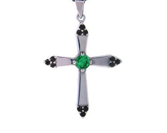 18k white gold emerald and black diamonds cross pendant convent