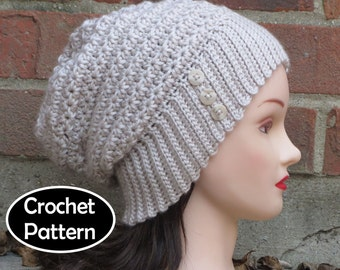 CROCHET HAT PATTERN Instant Download Pdf - Anneliese Slouchy Beanie Hat Womens Teens - Permission to Sell English Only