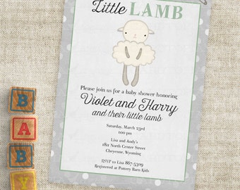 Green and Gray Lamb Baby Shower with Stripes Gender Neutral Little Lamb Invitations Custom Invites with Professional Printing Option