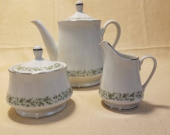 Vintage Mikasa Montclair Teapot, Creamer, and Sugar Bowl