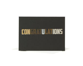 Congratulations Greeting Card / Letterpress Card/ Silver and Gold / Iridescent Letterpress / Typographic Design / Wedding Card / Congrats