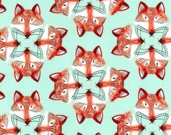 Out Foxed in Mist, Foxy Fellas Collection for Michael Miller Fabrics 2180