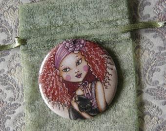 Red hair black cat-pocket mirror 2.25 inch 5.6cm