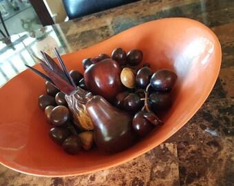 Rare Loma Industries Mid Century Citrine Orange Fruit Bowl Centerpiece Party Plasticware Home Decor Vintage Collectible
