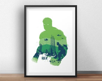 Hulk Poster Design - Superheroes geek Wall art print -  Available in different sizes. Check the drop-down menu for your choice