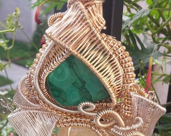 LARGE Wire Wrapped Malachite and Citrine Amulet