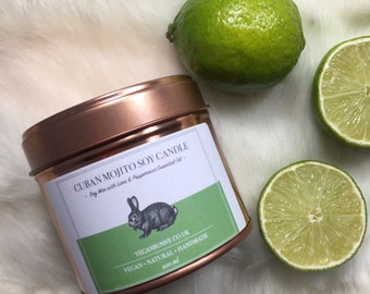 Soy Candle with Mojito scent: Lime + Peppermint essential oils - Natural Vegan Candle with Essential Oil - Plastic Free P&P