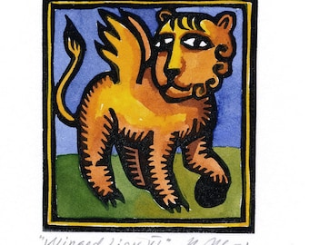 WINGED LION VI linocut Aceo greeting card small artwork