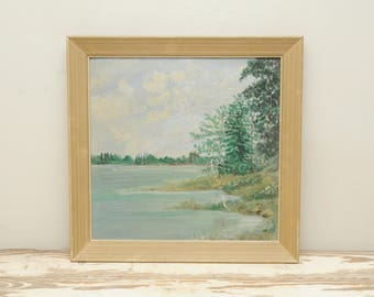 Original Painting Mountain Lake DAMAGED