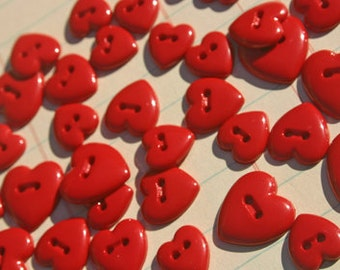 "Red Heart Buttons - Sewing Hearts Button - Assorted Sizes 3/8"" Wide to 5/8"" Wide - 28 Buttons"