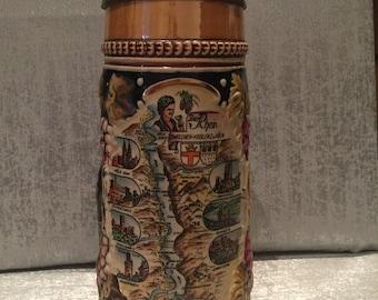 Vintage German Ceramic Beer Stein Featuring Der Rhein river scene, marked with No 3