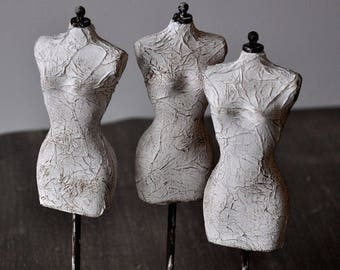 ONE Miniature Dress Form, shabby chic home decor mannequin