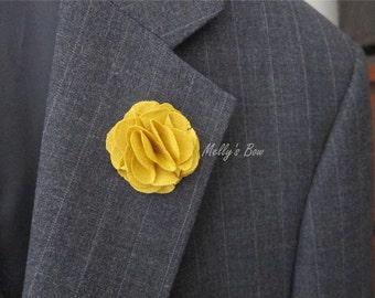 Honey Linen Men's Lapel Flower Pin - Wedding Boutonniere - Buttonhole - Fabric Flower Brooch