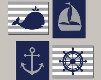 Nautical Nursery Wall Art, Navy Gray Nursery, Boy Nursery Decor, Kids Nautical Bathroom, Whale Anchor Sailboat Set of 4 Prints Or Canvas