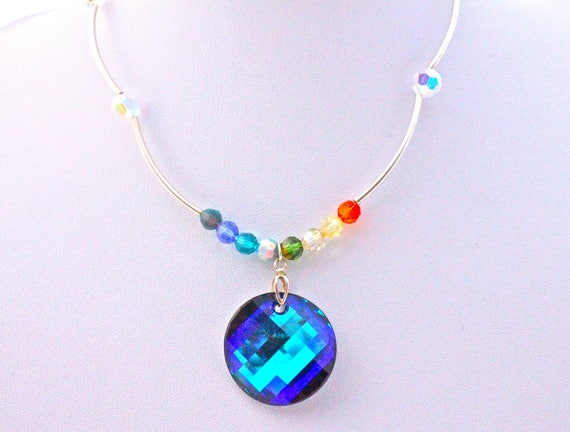 Necklace vintage cabochon and swarovski crystal beads