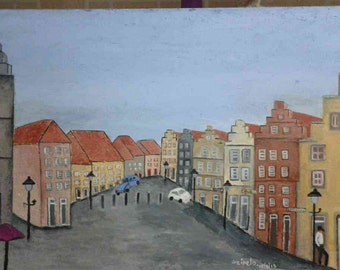 Oil Painting,original painting, Wall art, Home decor,Mixed Media art,Germany,Building,original artwork, in the streets, Europe