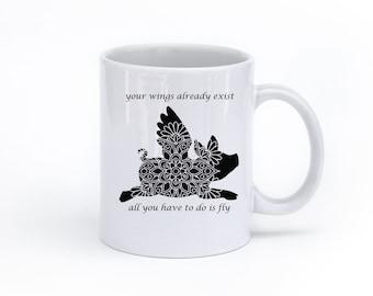 Flying Pig Coffee Mug - Black Pig Coffee Mug - Graduation Gift - Inspirational Gift - Mug with Sayings - Flying Pig - Funny Mug - Girly Mug