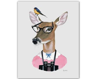 Deer print - Woodland Nursery - Ryan Berkley Illustration - Modern Kids Art - Modern Nursery - Geek chic - Dapper Animals - Doe print 11x14
