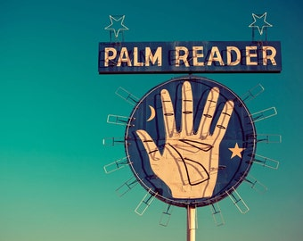 Palm Reader Neon Sign | Retro Home Decor | Mid Century Modern Art | Blue and Teal Wall Art | Fortune Telling | Fine Art Photography