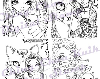 Animal Cat and Girl Digital Stamp Set of 4 Images - Instant Download / Kitten Exotic Victoria Fantasy Fairy Girl Art by Ching-Chou Kuik