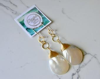 Gold Wire Wrap Mother of Pearl Teardrop Earrings