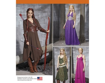 Simplicity 1010 Misses Medieval Fantasy Costume Sewing Pattern, warriors' belt and gauntlets , Medieval Royalty