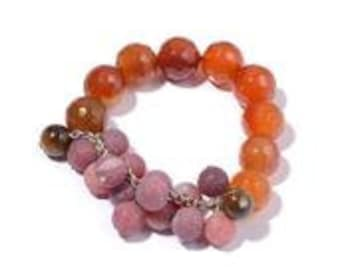 Red Agate, South African Tigers Eye Bracelet in Silvertone (Stretchable) TGW 40.00 Cts