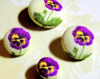 Purple Pansies Fabric-Covered Buttons - You Choose the Size - Custom Fabric Buttons - Purple Pansy Flower Covered Buttons - Small to Large