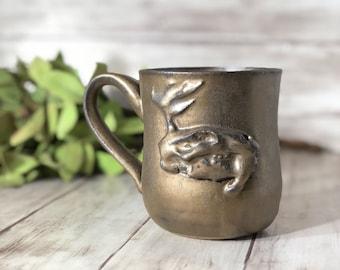 Jackalope Skull Mug, Pottery Mug, Gold Mug, Rustic Mug, Ceramic Mug, Coffee Gift, Goth, Taxidermy Handmade Mug, Animal Skull, Mothers Day